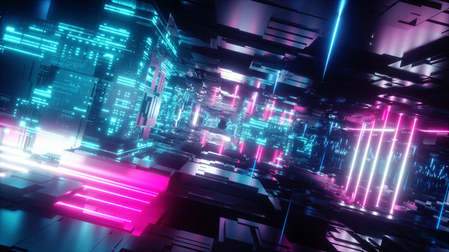 3d render, abstract tunnel, urban background, futuristic pink neon light, geometric structure, big data, quantum computer, storage, cyber safety, virtual reality