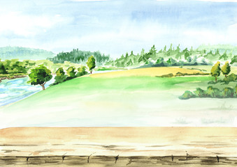 Rural landscape with river and empty table as background. Watercolor hand drawn illustration