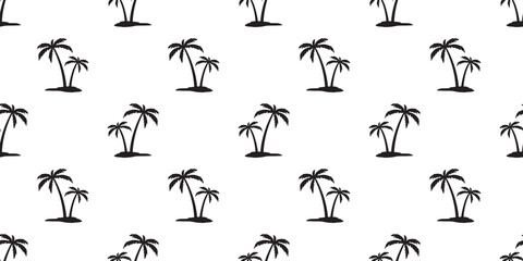 Coconut tree Seamless Pattern island palm tree vector isolated sea ocean summer beach tropical wallpaper background