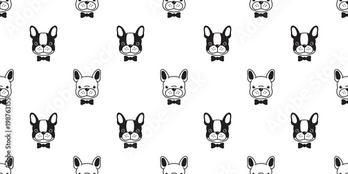 Dog Seamless Pattern French Bulldog Pug Isolated Bow Tie Puppy