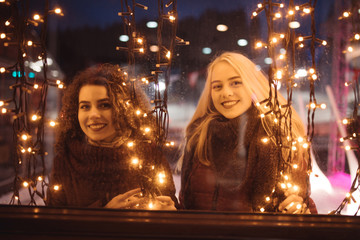 Women in christmas lights