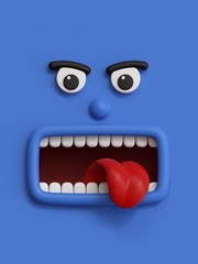3d render, emotional cartoon face, angry emoticon, scared emotion, screaming, blue monster