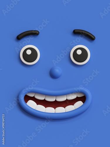 3d Render Cute Emotional Cartoon Face Shy Smiley Kid Adorable