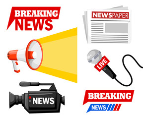 Journalist tools collection with logo. Breaking news concept. Microphone, camera, megaphone, newspaper. Vector illustration isolated on white background. Website page and mobile app design
