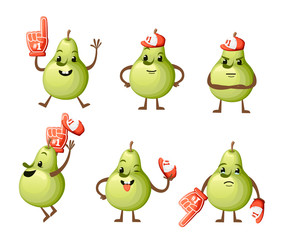 Set of cartoon Illustration of a Pear. Cute pear mascot. Different emotions fruit with foam hand Number 1. Vector illustration isolated on white background. Web site page and mobile app design