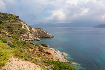 Beautiful coast of Fourkovouni bay. Milos island. Cyclades, Greece.