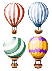 Set of colored hot air balloons. Four balloons with diffirent pattern. Vector illustration isolated on white background. Website page and mobile app design