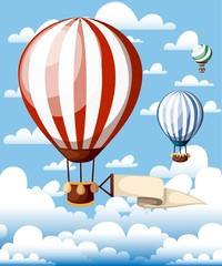 Hot air balloons. Red balloon with ribbon on the blue sky. Vector illustration isolated with clouds on background. Website page and mobile app design
