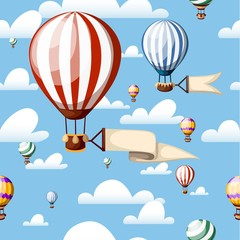 Seamless pattern. Hot air balloons. Red balloon with ribbon on the blue sky. Vector illustration isolated with clouds on background. Website page and mobile app design