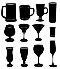 Vector silhouettes of glasses, cups and glasses.