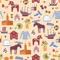 Vector seamless pattern with hand drawn  elements of famous landmarks of Sweden. Traditional Swedish food, clothes and buildings.