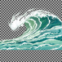 Sea wave. Hand drawn vector illustration isolated on transparent background.