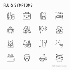 Flu and symptoms thin line icons set: temperature, chills, heat, runny nose, doctor with stethoscope, nasal drops, cough, phlegm in the lungs. Modern vector illustration.