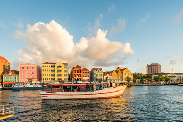 Sunset on the floating bridge       Curacao views Wall mural