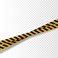 Vector flat style cartoon illustration isolated on background. Black and yellow stripes set. Warning tapes. Danger signs. Caution ,Barricade tape,