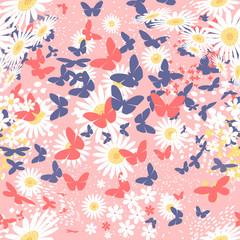 Butterflies. Seamless vector pattern on light background/