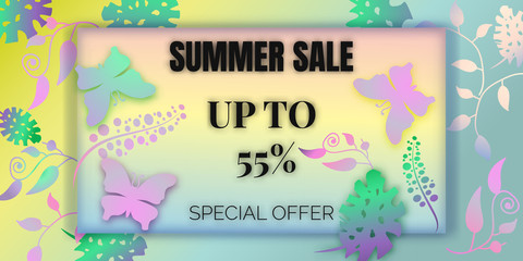 Summer sale background with beautiful colorful butterfly and paper flower. Vector illustration template. voucher discount.