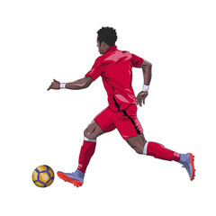 Running football player in red jersey with ball, isolated vector illustration. Soccer, team sport