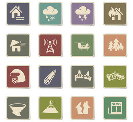 natural disasters icon set
