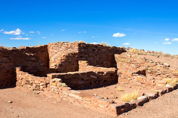 Ruins of an ancient Hopi Native American pueblo in Homolovi State Park near Winslow, Arizona