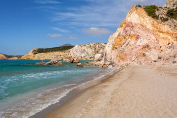 Sandy beach on Milos island, Greece.Firplaka beach