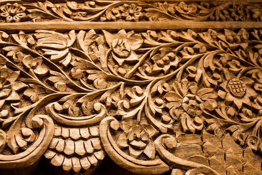 Kashmiri Walnut Bed Board Detail with Floral Design. Hand-carved by a Master Craftsman in a small village of Kashmir. This is a disappearing craft in the state.