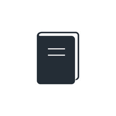 Book Icon isolated on white. Vector flat symbol. Front view