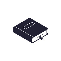 Book Isometric Icon with bookmarker isolated on white. Vector flat symbol