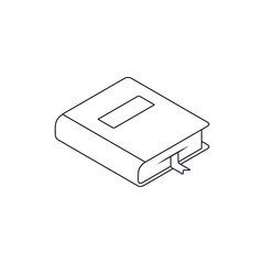 Book Isometric Line Icon with bookmarker isolated on white. Vector flat outline symbol