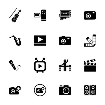 Performance icon set. Can be used for topics like concert, media, entertainment, show