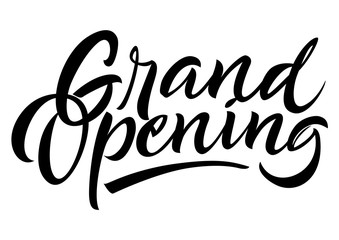 Grand opening lettering. Handwritten text, calligraphic inscription can be used for advertising design, invitations, banners