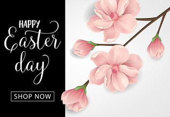 Happy Easter Day Shop Now lettering. Easter sale invitation. Handwritten and typed text, calligraphy. For flyers, posters, leaflets and brochures.