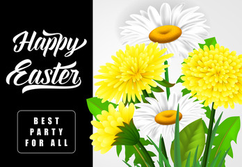 Happy Easter Best Party for All lettering. Easter invitation with dandelions and daisies. Handwritten and typed text, calligraphy. For greeting cards, posters, leaflets and brochures.