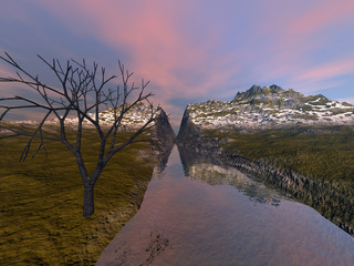 Canyon, an autumn landscape, grass and snow on the ground, a black tree and reflection in water.
