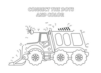 Numbers game, educational connect the dots game for children, Cleaning Truck Side View.