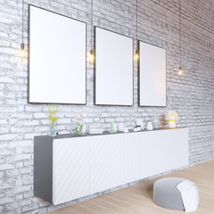 mock up poster frames in hipster interior background, Scandinavian style, 3D render, 3D illustration