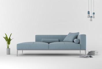 3D rendering of Studio furniture with sofa, lamp