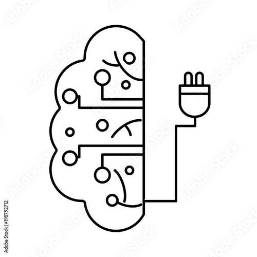 Line Brain Circuit Intelligence With Power Cable Stock Image And