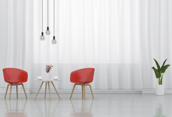 3D rendering of interior modern living room work space with red chair