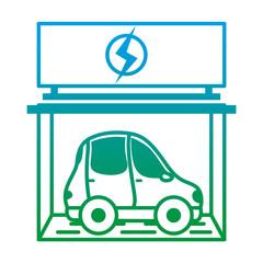 degraded line car transport inside charging energy station