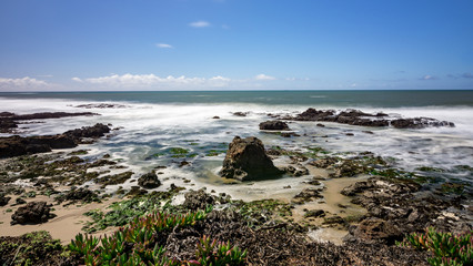 Rocky beach with ice plant south of Half Moon Bay, California, USA, seascape