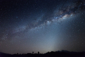 Nightscape scenery with starry and milky way. Mount Kinabalu as background.