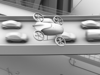 Clay rendering of passenger drone flying over cars in heavy traffic jam. 3D rendering image.