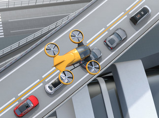 Top view of yellow passenger drone flying over cars in heavy traffic jam. Concept for drone taxi. 3D rendering image.