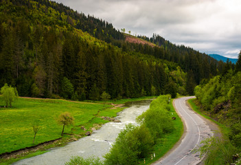 road along the river near the forest on hillside. lovely springtime landscape in mountains on a cloudy day. view from above
