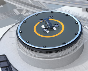 Black self-driving passenger drone parking on the helipad. 3D rendering image.