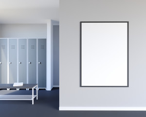 Mock up scene, 3d illustration , sport, gym, fitness, locker room wall,  white  perspective,  picture