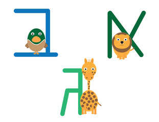 Hebrew letters with animals cartoon. Lion, duck and giraffe