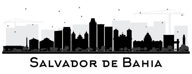 Salvador de Bahia City Skyline Silhouette with Black Buildings Isolated on White.