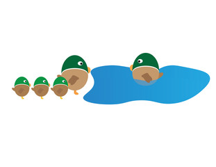 Vector Ducks family cartoon isolated